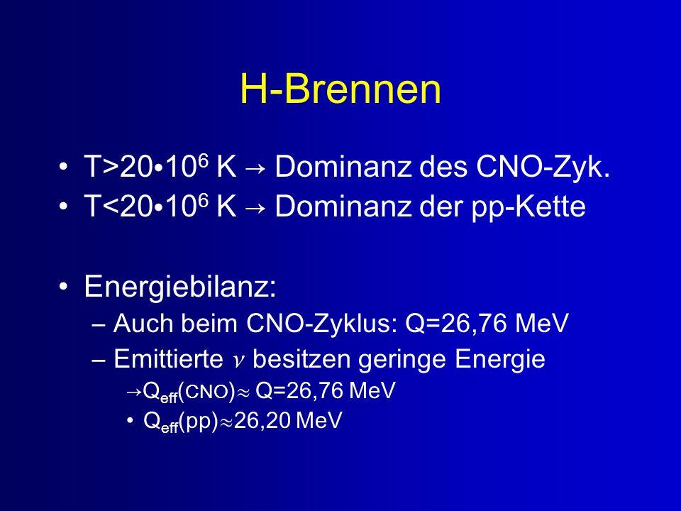 H-Brennen T>20106 K → Dominanz des CNO-Zyk.