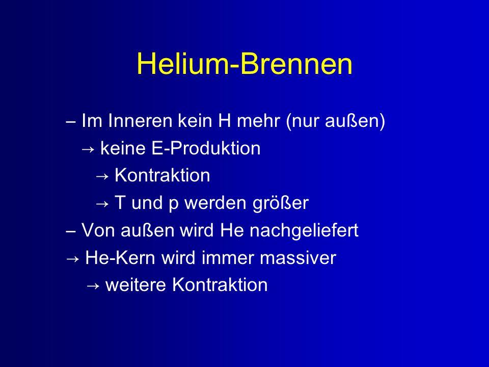 Helium-Brennen Im Inneren kein H mehr (nur außen) → keine E-Produktion