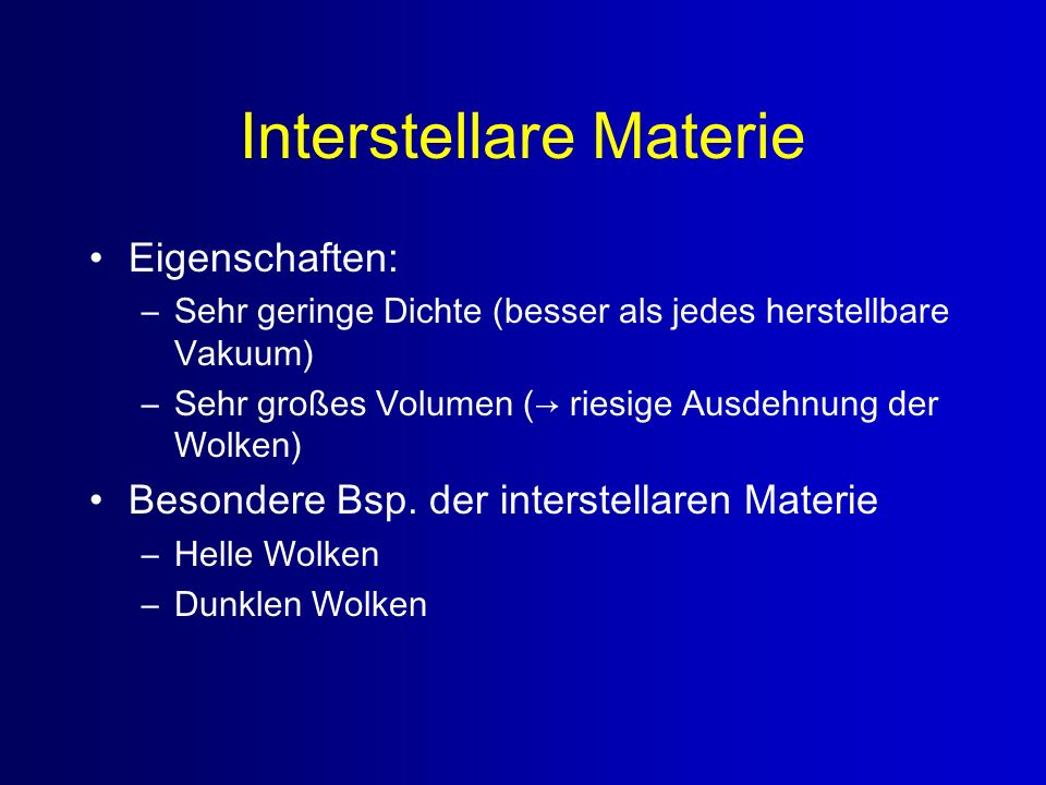 Interstellare Materie