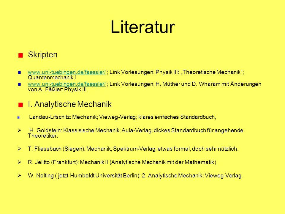 Literatur Skripten I. Analytische Mechanik