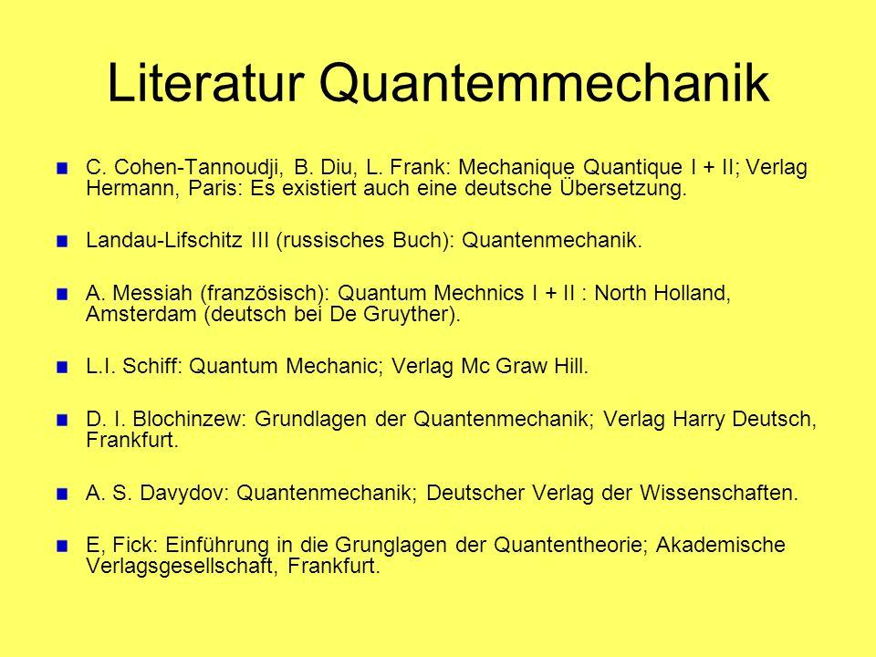 Literatur Quantemmechanik