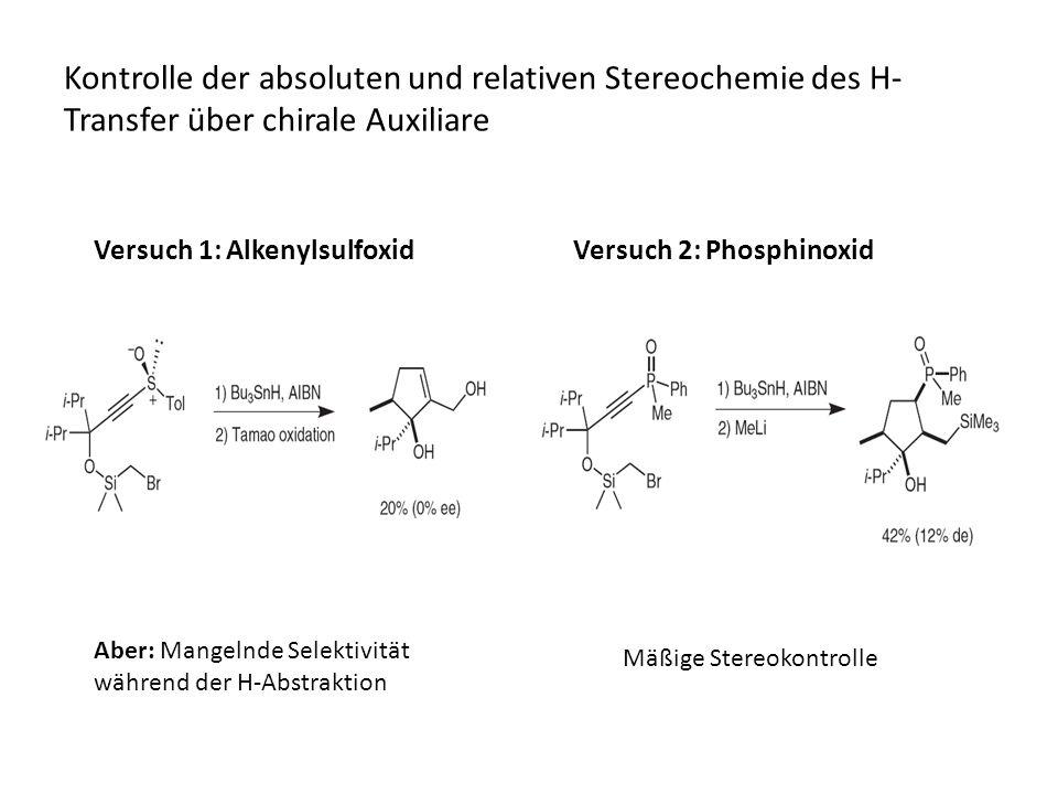 Kontrolle der absoluten und relativen Stereochemie des H-Transfer über chirale Auxiliare