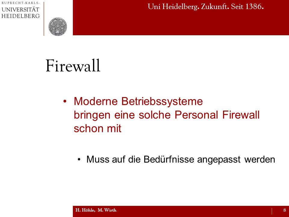 Firewall Moderne Betriebssysteme bringen eine solche Personal Firewall schon mit. Muss auf die Bedürfnisse angepasst werden.