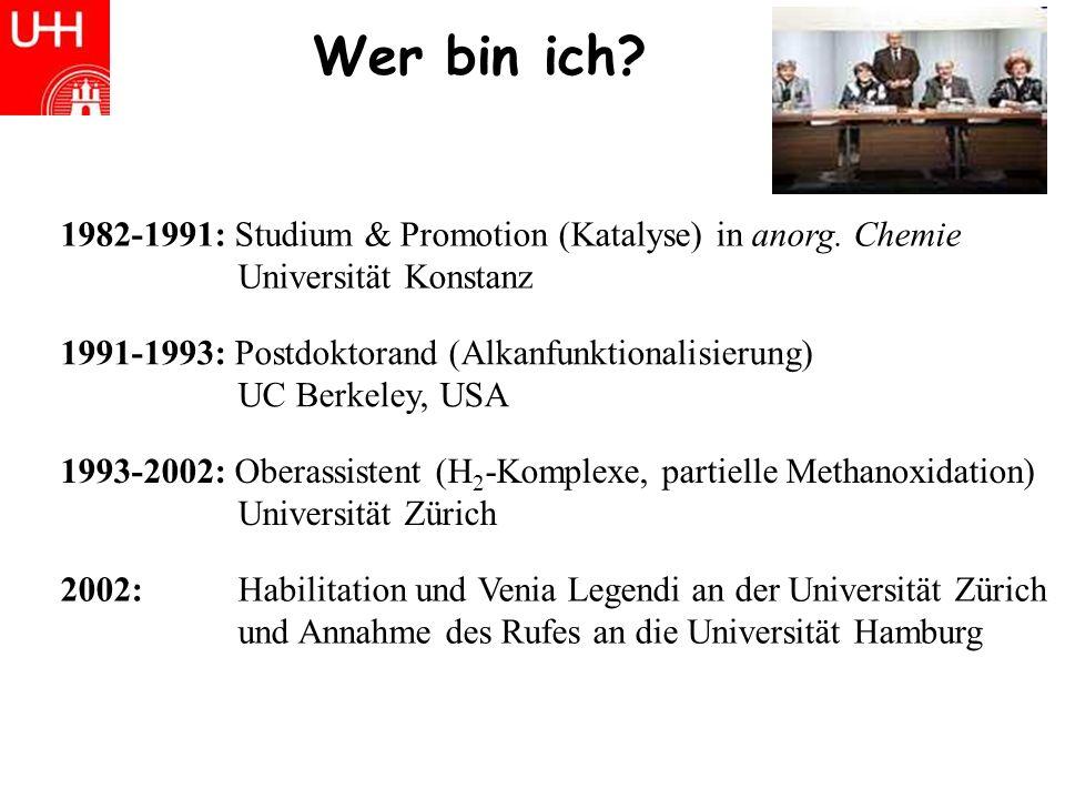 Wer bin ich 1982-1991: Studium & Promotion (Katalyse) in anorg. Chemie. Universität Konstanz. 1991-1993: Postdoktorand (Alkanfunktionalisierung)