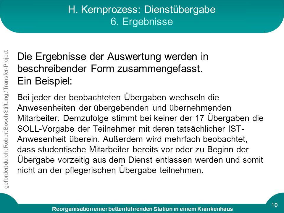 H. Kernprozess: Dienstübergabe 6. Ergebnisse