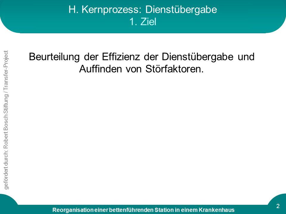 H. Kernprozess: Dienstübergabe 1. Ziel