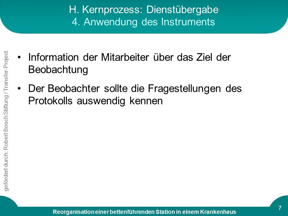 H. Kernprozess: Dienstübergabe 4. Anwendung des Instruments