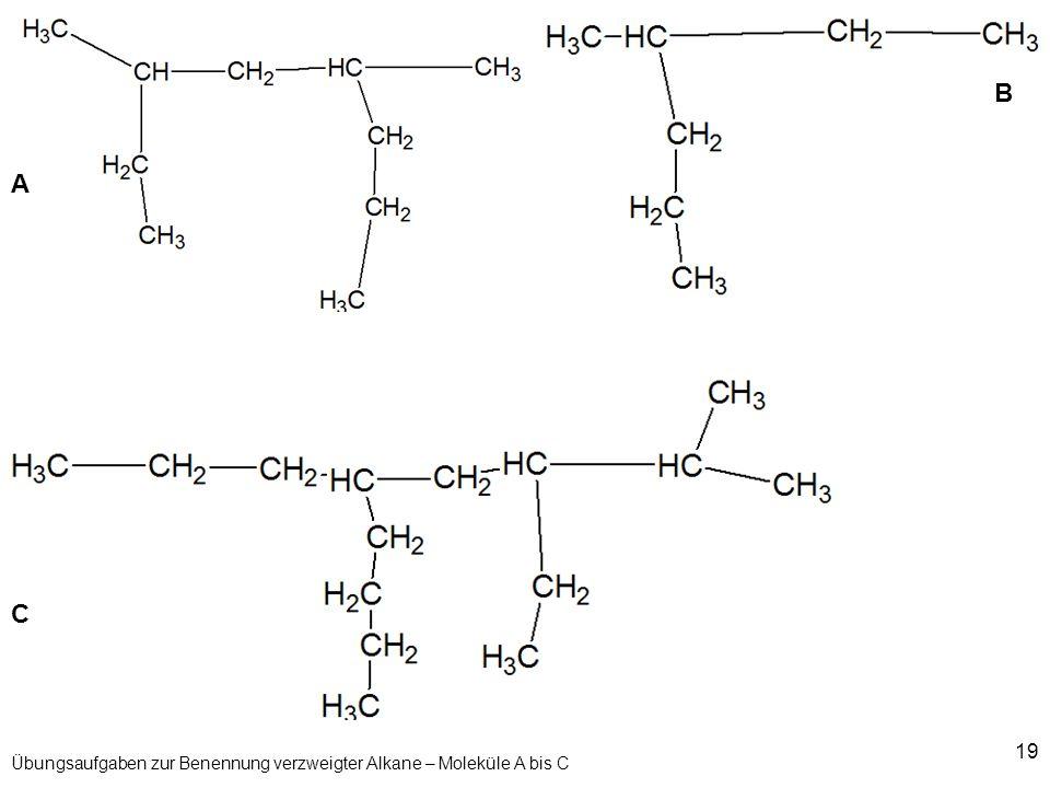 Übungsaufgaben zur Benennung verzweigter Alkane – Moleküle A bis C