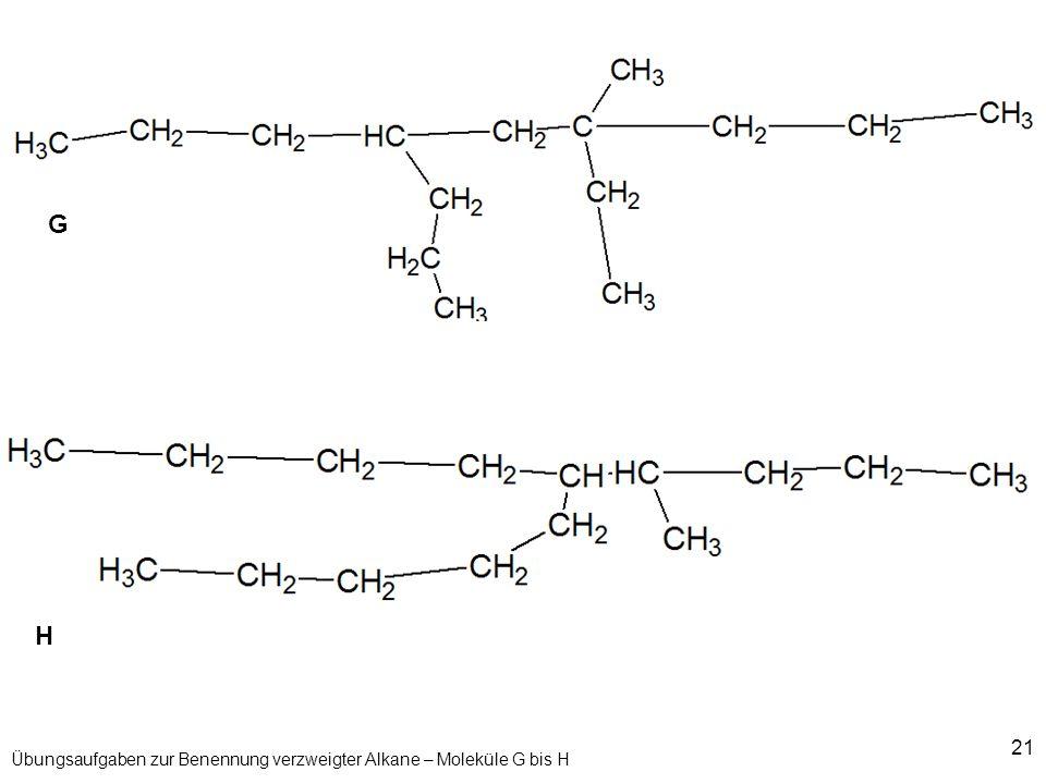 Übungsaufgaben zur Benennung verzweigter Alkane – Moleküle G bis H