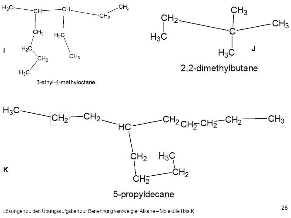 J I K Lösungen zu den Übungsaufgaben zur Benennung verzweigter Alkane – Moleküle I bis K