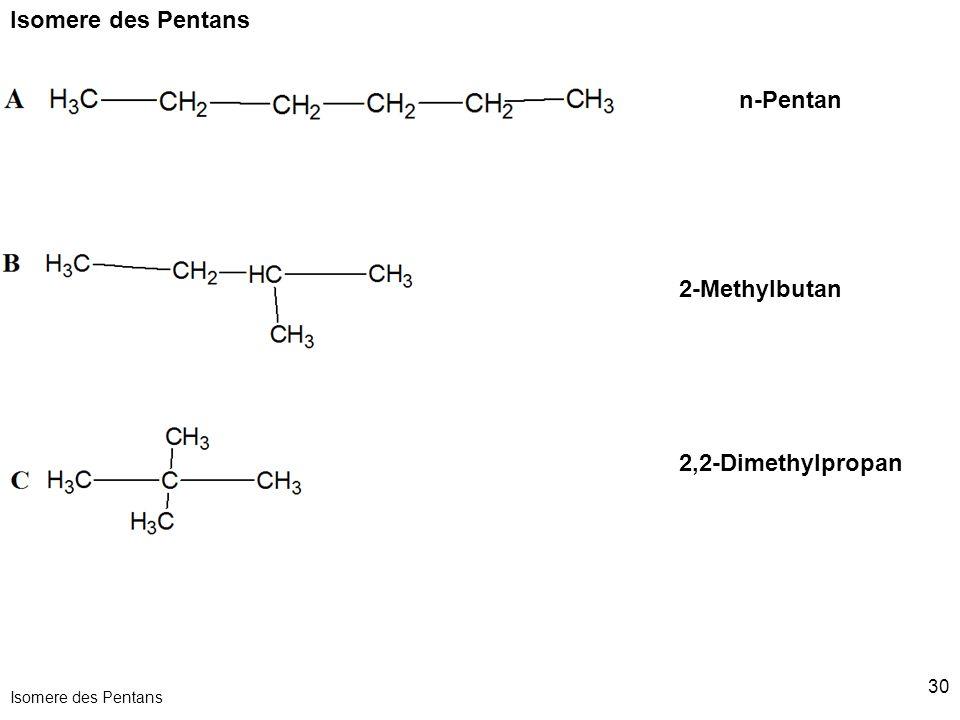 Isomere des Pentans n-Pentan 2-Methylbutan 2,2-Dimethylpropan