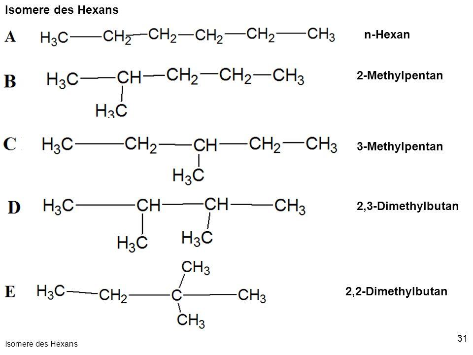 Isomere des Hexans n-Hexan 2-Methylpentan 3-Methylpentan