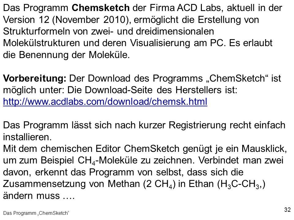 """Das Programm """"ChemSketch"""