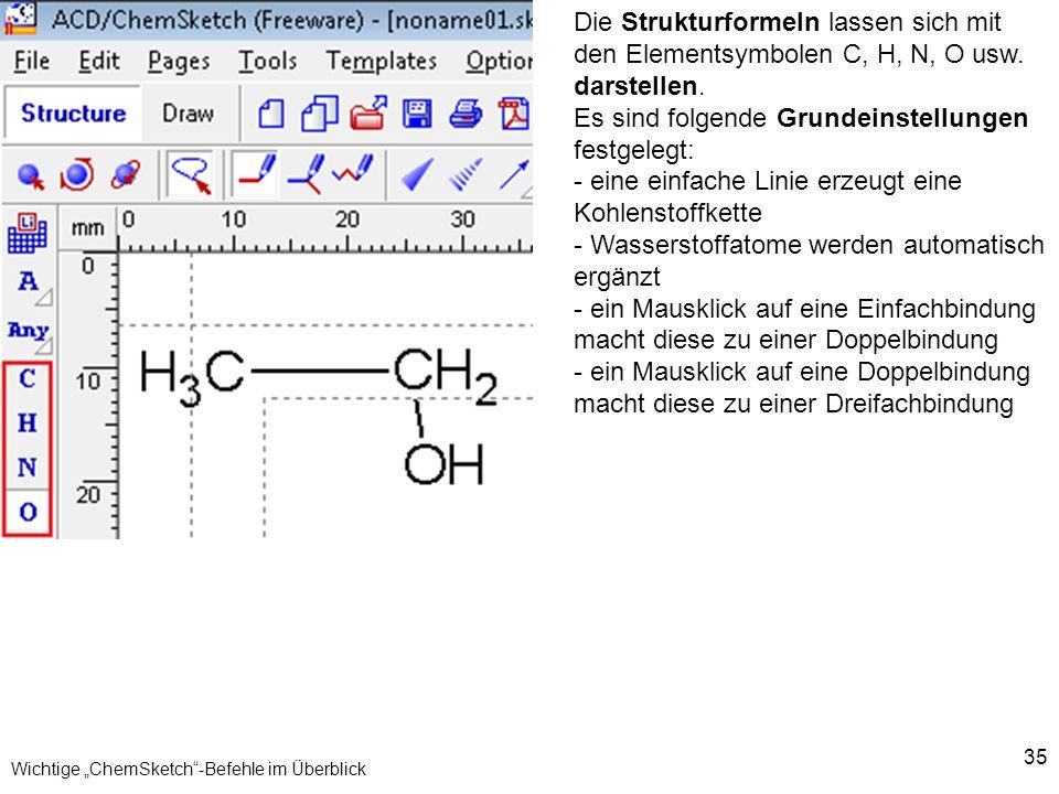 """Wichtige """"ChemSketch -Befehle im Überblick"""