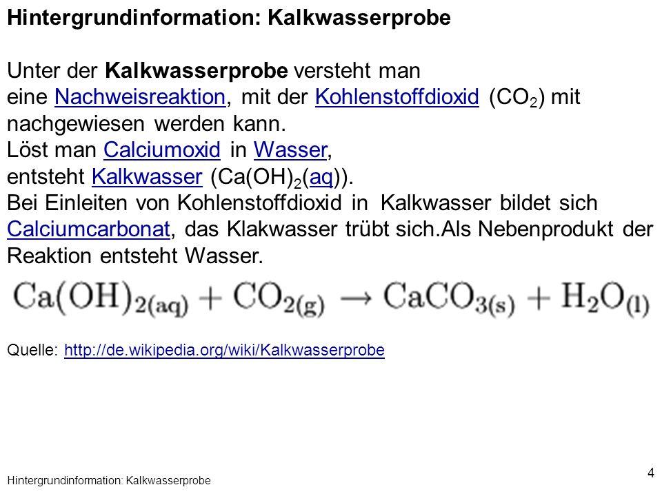 Hintergrundinformation: Kalkwasserprobe