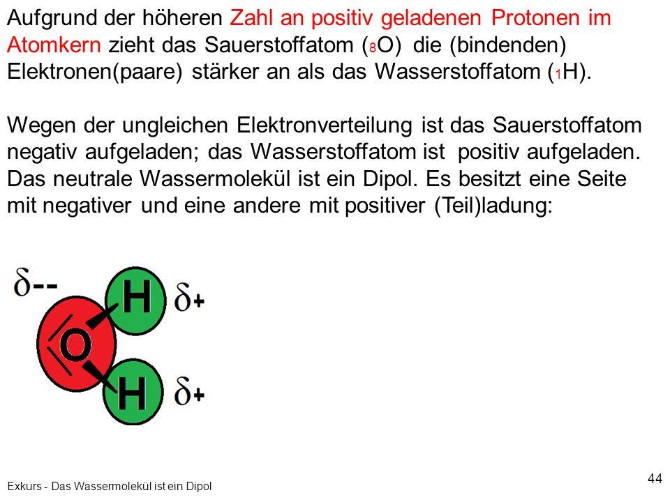 Exkurs - Das Wassermolekül ist ein Dipol
