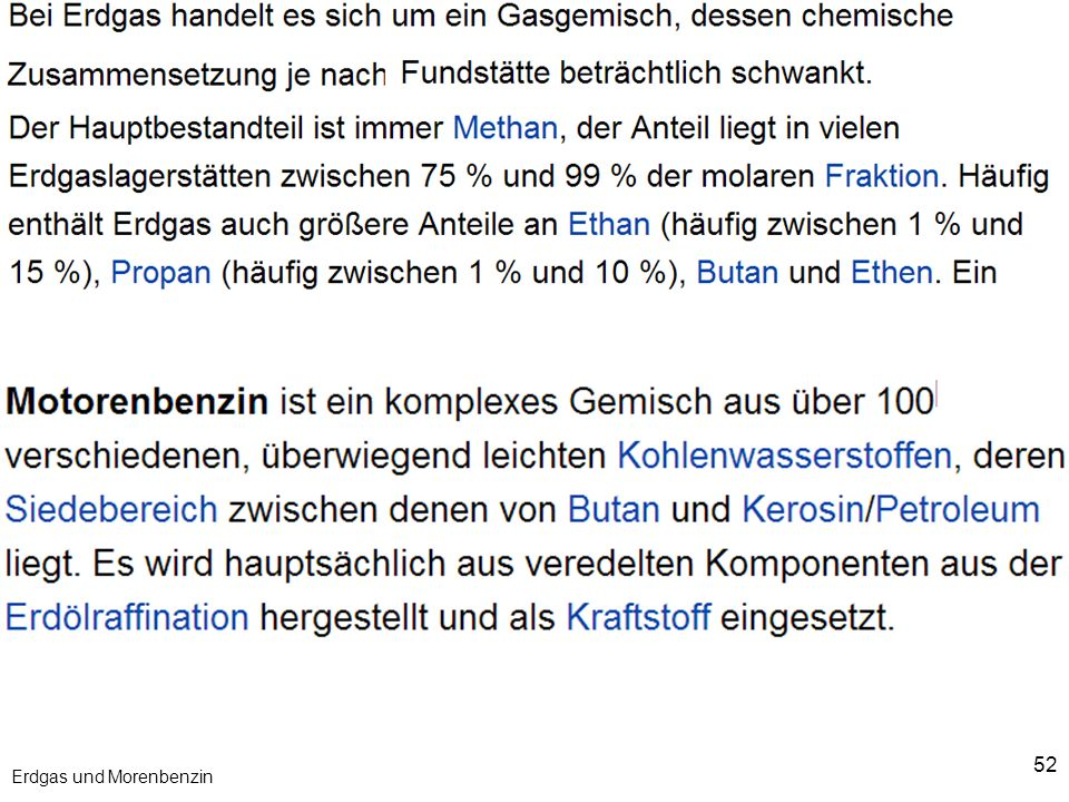 Erdgas und Morenbenzin