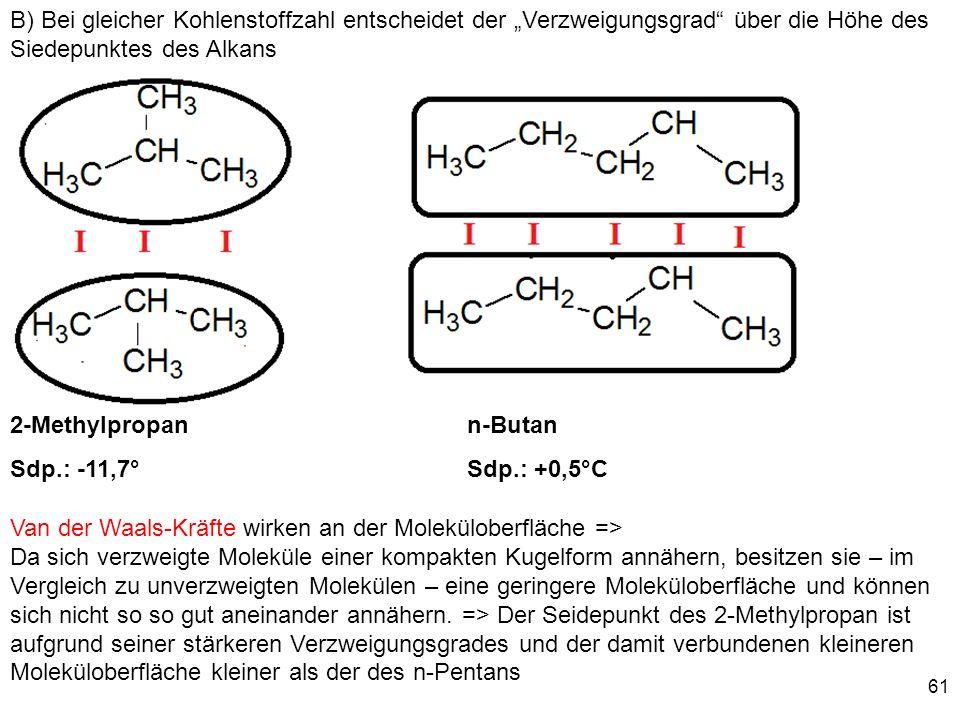 """B) Bei gleicher Kohlenstoffzahl entscheidet der """"Verzweigungsgrad über die Höhe des Siedepunktes des Alkans"""