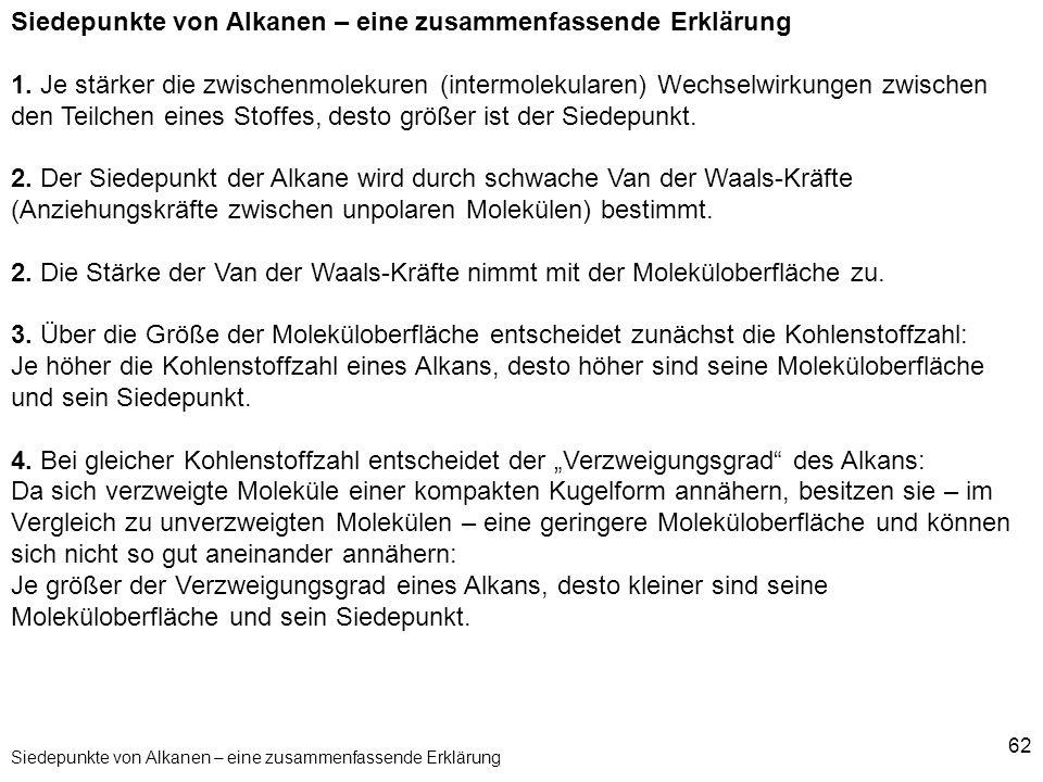 Siedepunkte von Alkanen – eine zusammenfassende Erklärung