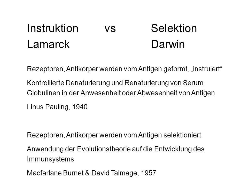 Instruktion vs Selektion Lamarck Darwin