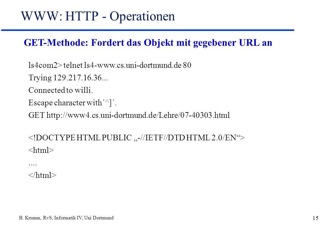 WWW: HTTP - Operationen