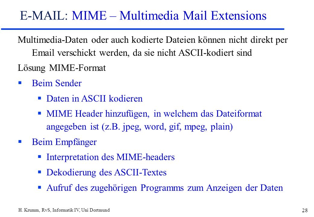 E-MAIL: MIME – Multimedia Mail Extensions