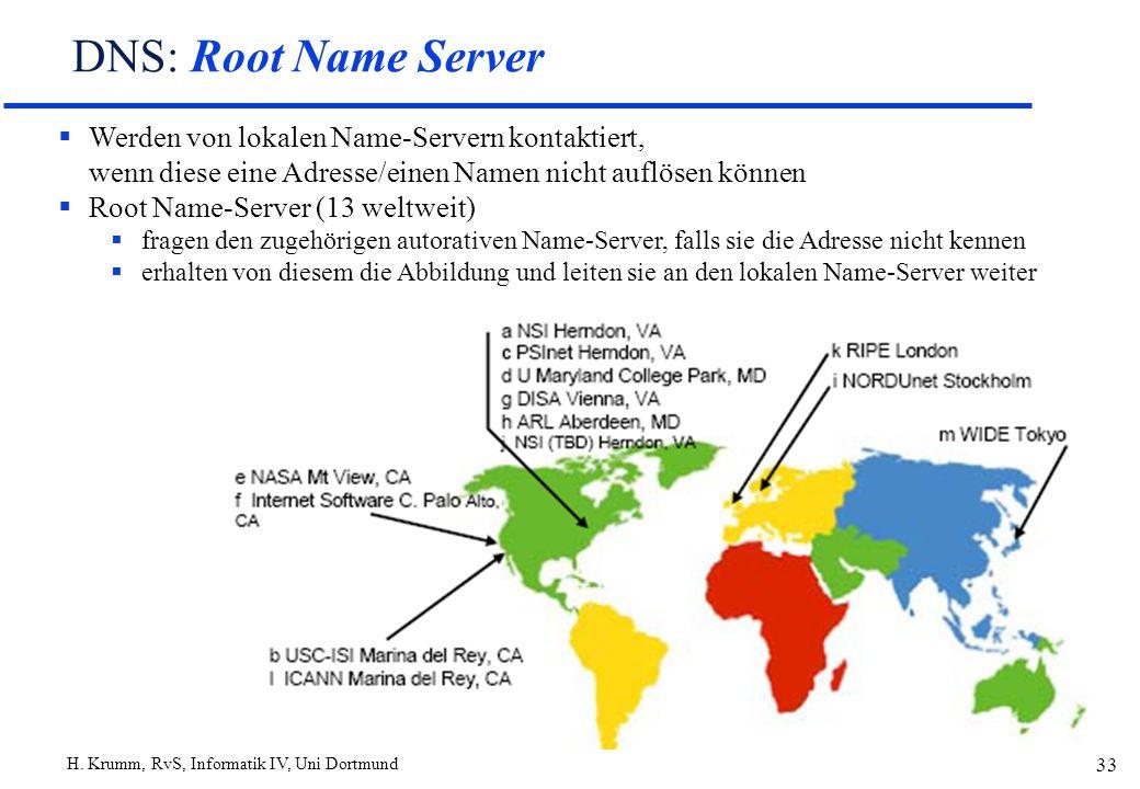 DNS: Root Name Server Werden von lokalen Name-Servern kontaktiert, wenn diese eine Adresse/einen Namen nicht auflösen können.