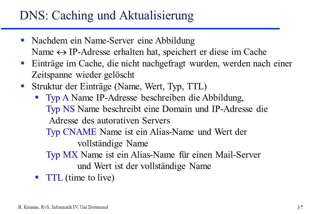 DNS: Caching und Aktualisierung