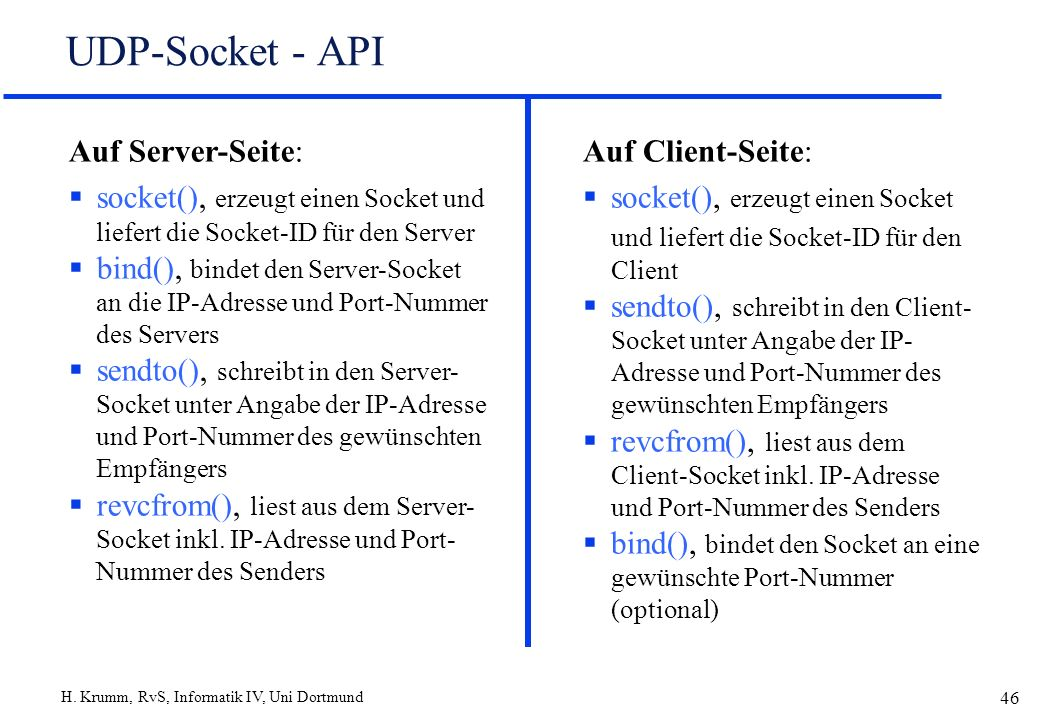UDP-Socket - API Auf Server-Seite: