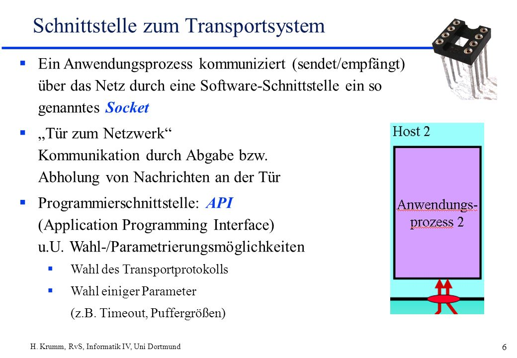 Schnittstelle zum Transportsystem