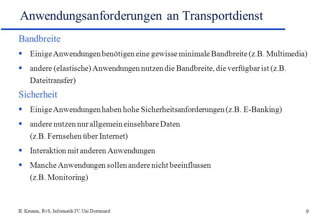 Anwendungsanforderungen an Transportdienst