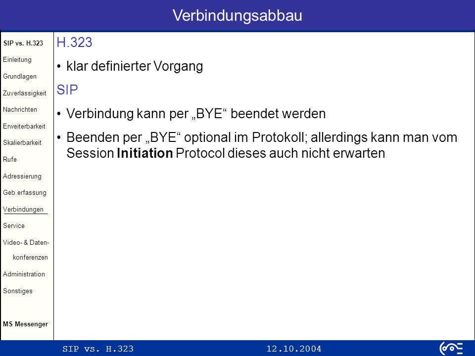 Verbindungsabbau H.323 klar definierter Vorgang SIP