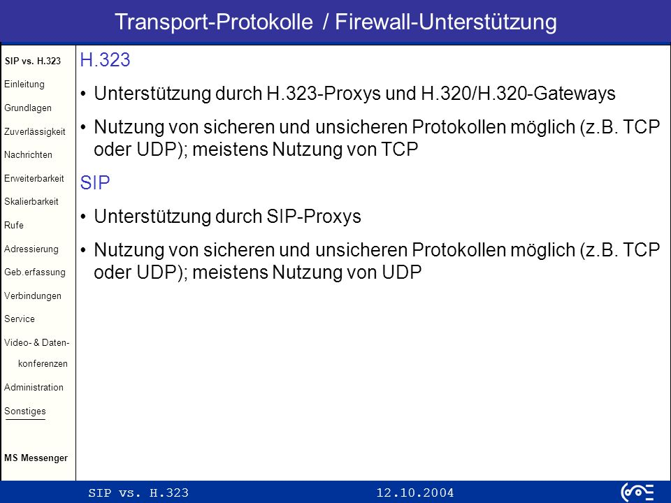 Transport-Protokolle / Firewall-Unterstützung