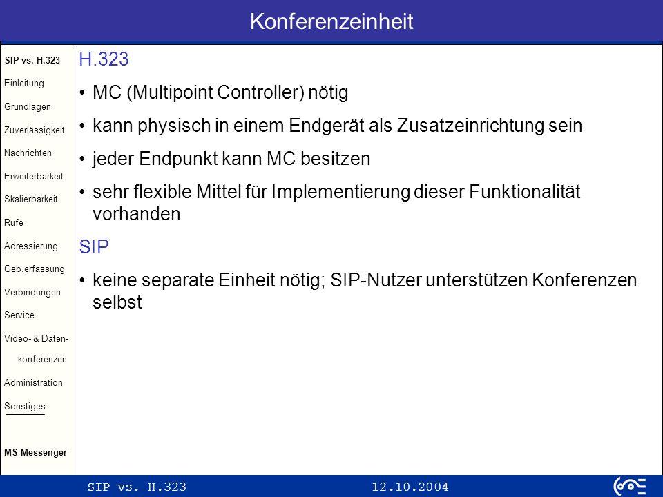 Konferenzeinheit H.323 MC (Multipoint Controller) nötig