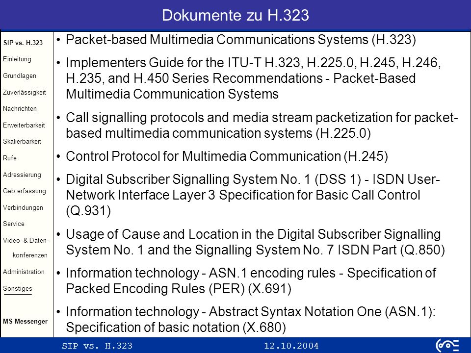 Dokumente zu H.323 Packet-based Multimedia Communications Systems (H.323)