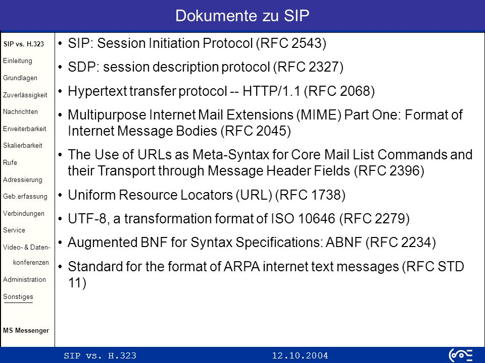 Dokumente zu SIP SIP: Session Initiation Protocol (RFC 2543)