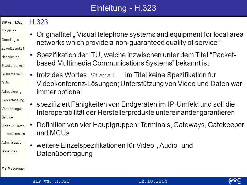 Einleitung - H.323 H.323.