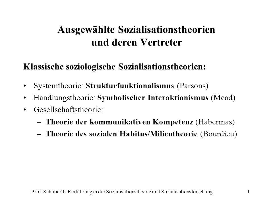 Ausgewählte Sozialisationstheorien und deren Vertreter