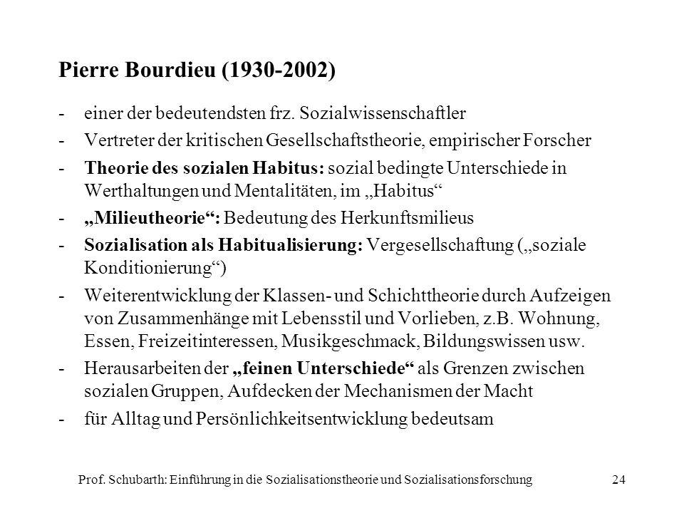 Pierre Bourdieu (1930-2002) einer der bedeutendsten frz. Sozialwissenschaftler. Vertreter der kritischen Gesellschaftstheorie, empirischer Forscher.