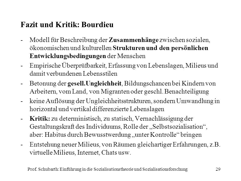 Fazit und Kritik: Bourdieu