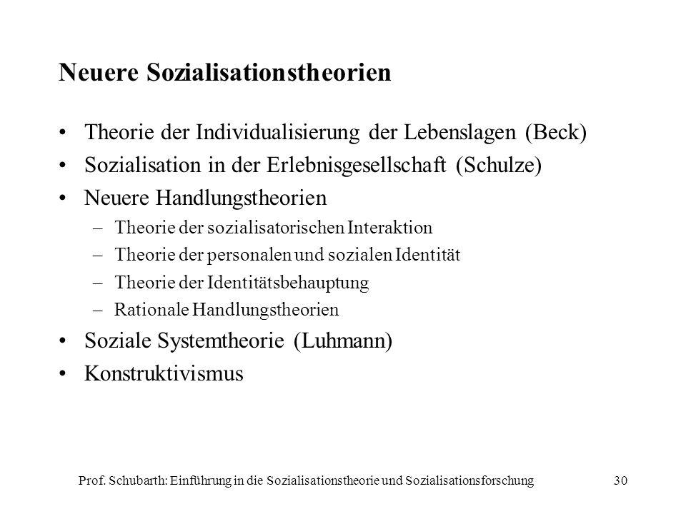 Neuere Sozialisationstheorien
