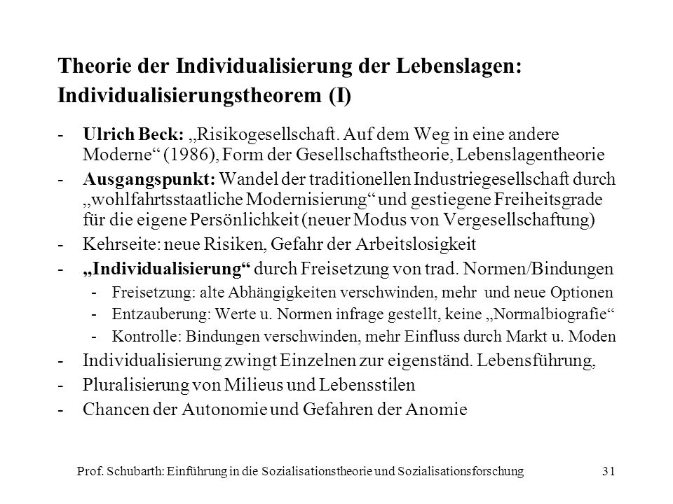 Theorie der Individualisierung der Lebenslagen: