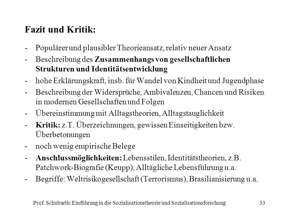 Fazit und Kritik:Populärer und plausibler Theorieansatz, relativ neuer Ansatz.
