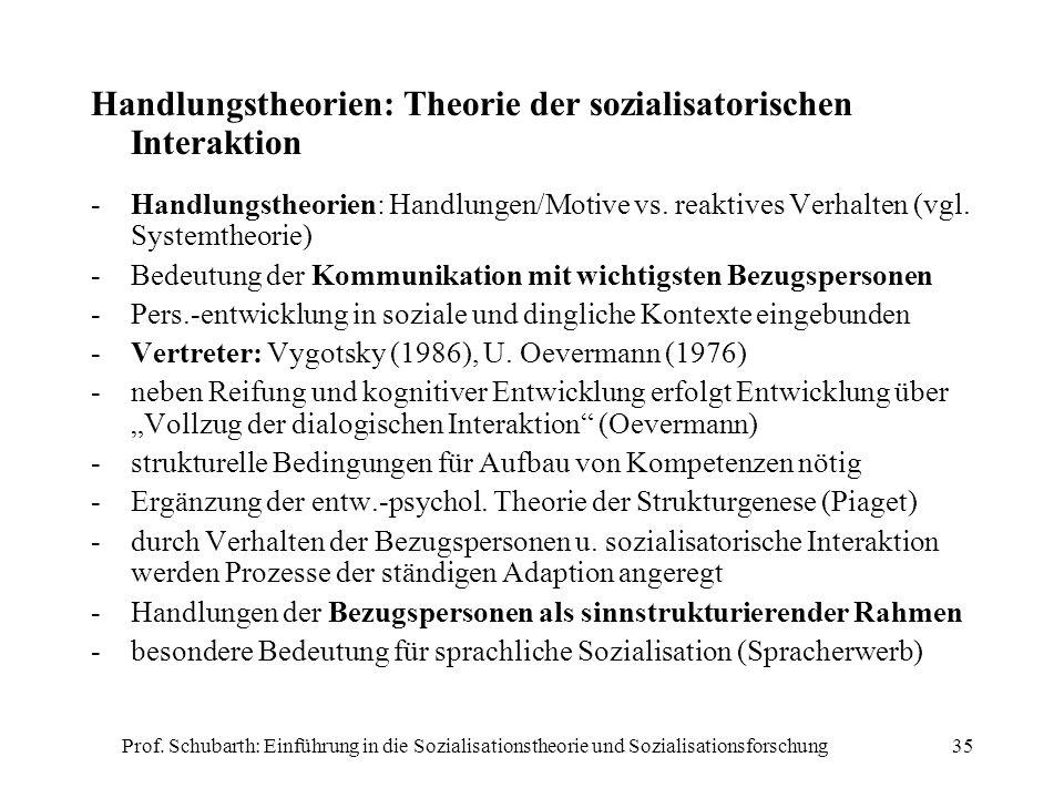 Handlungstheorien: Theorie der sozialisatorischen Interaktion