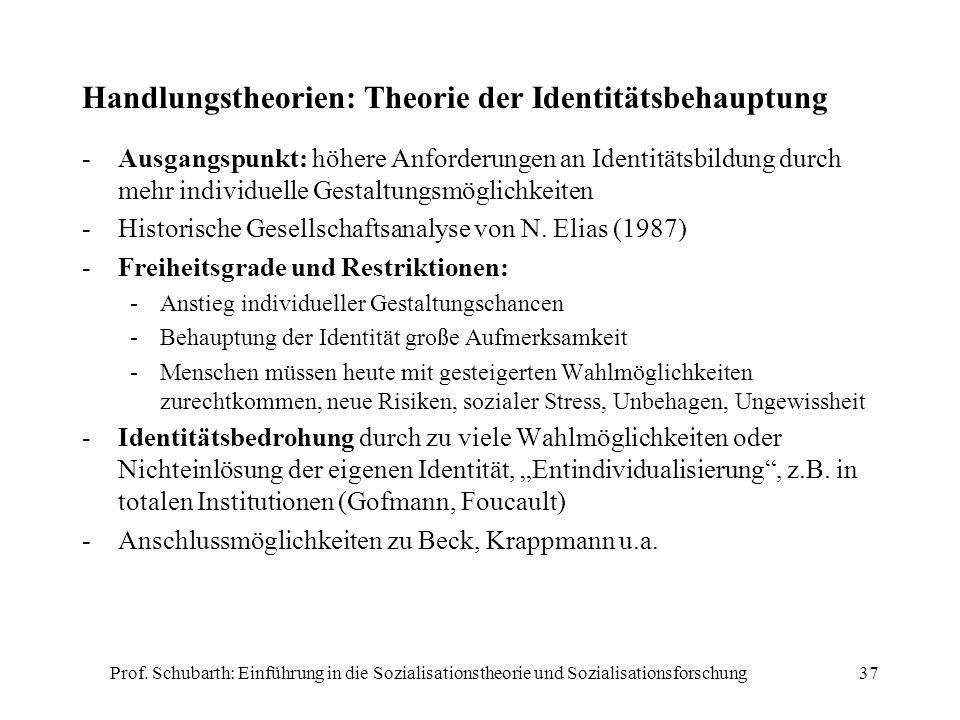 Handlungstheorien: Theorie der Identitätsbehauptung