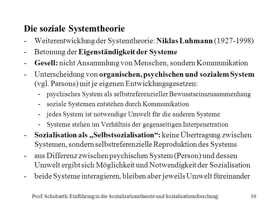 Die soziale Systemtheorie