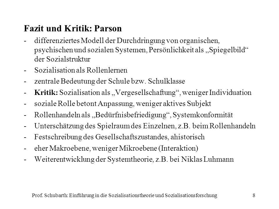 Fazit und Kritik: Parson