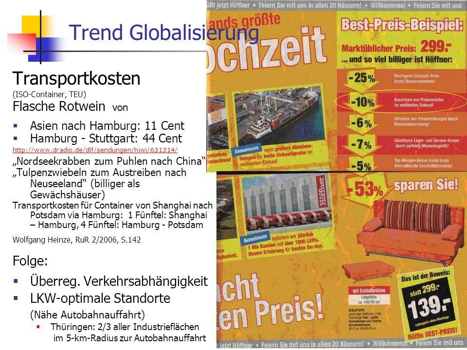 Trend Globalisierung Transportkosten Flasche Rotwein von Folge:
