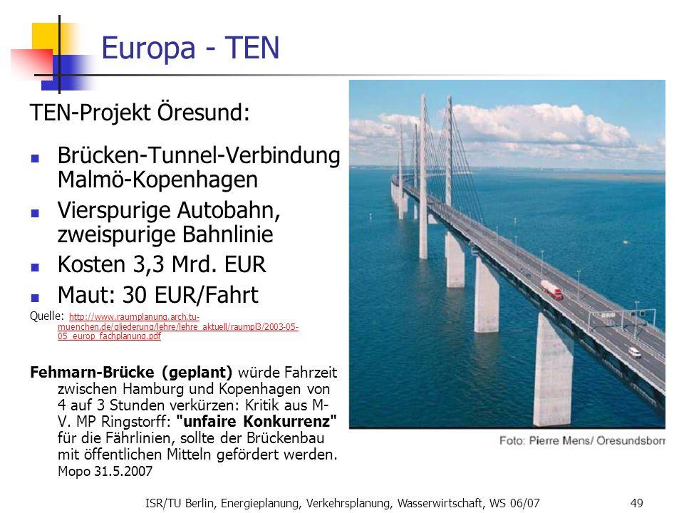 Europa - TEN TEN-Projekt Öresund: