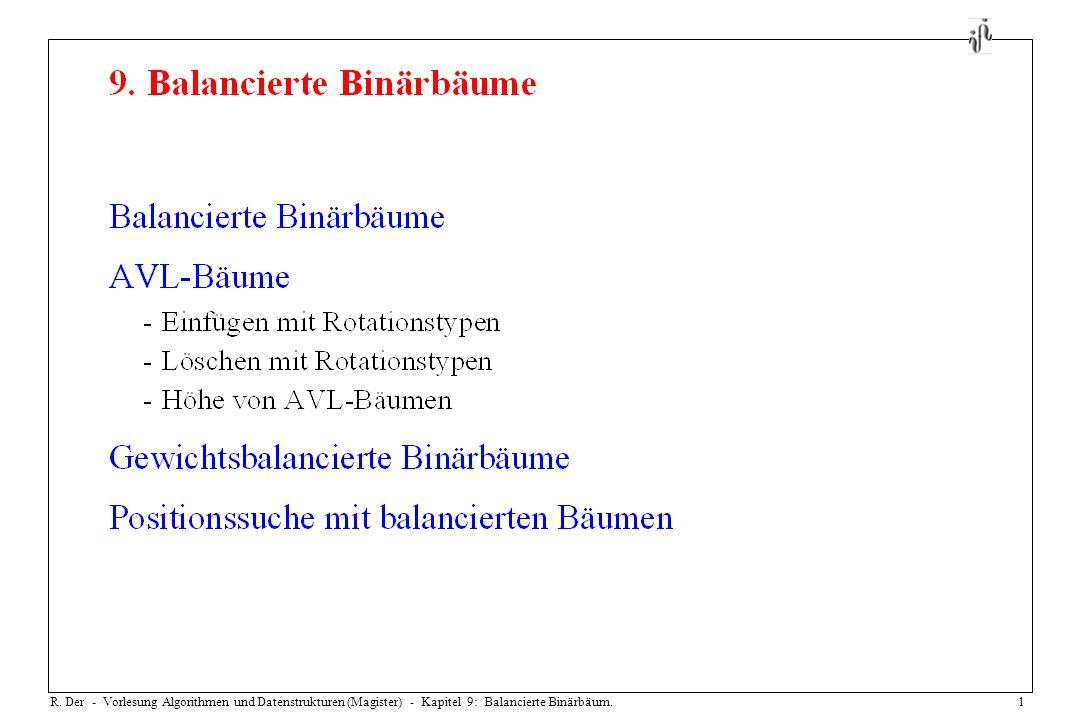 R. Der - Vorlesung Algorithmen und Datenstrukturen (Magister) - Kapitel 9: Balancierte Binärbäum.